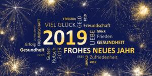 Neujahrsgruß 2019 blau gold mit guten wünschen
